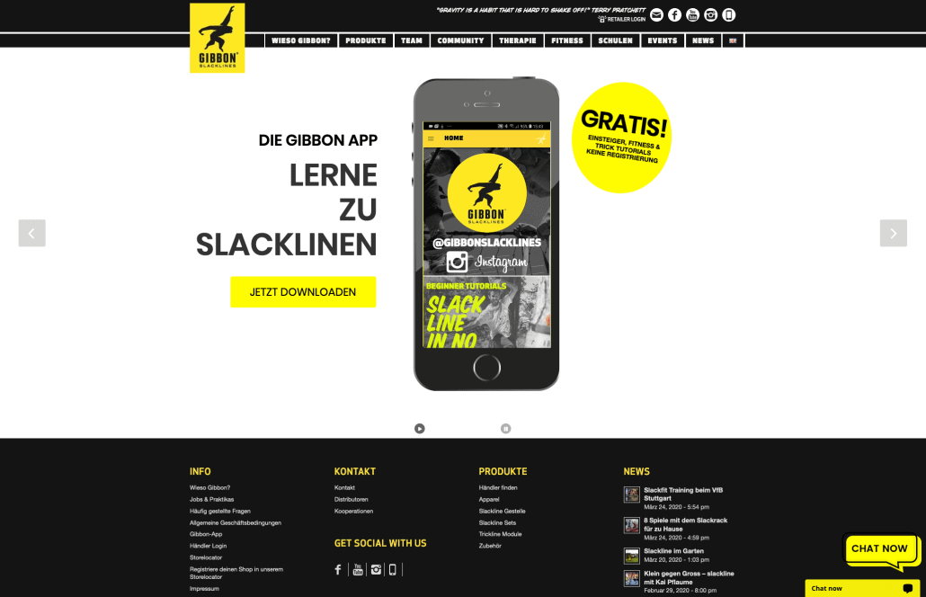 2-Sprachige Website für Gibbon Slacklines